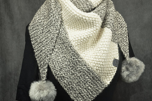 White & grey alpaca hand knitted scarf with two alpaca pompoms