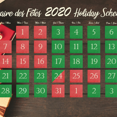 Special 2020 Holiday Schedule