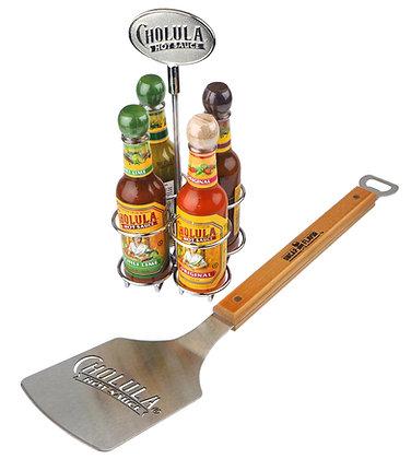 Cholula BBQ Set - 4 Bottle Caddie Set and Cholula Spatula