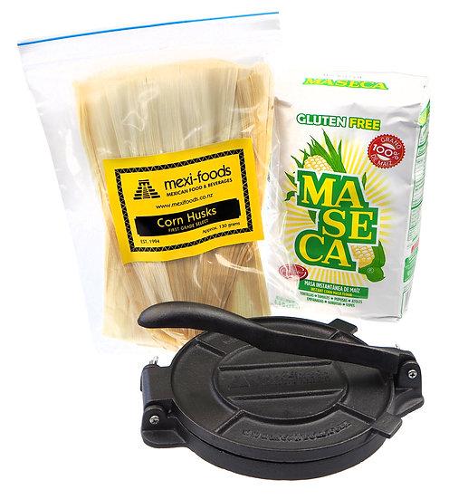 Maseca Instant Corn Masa, Corn Husks & Tortilla Press Combo