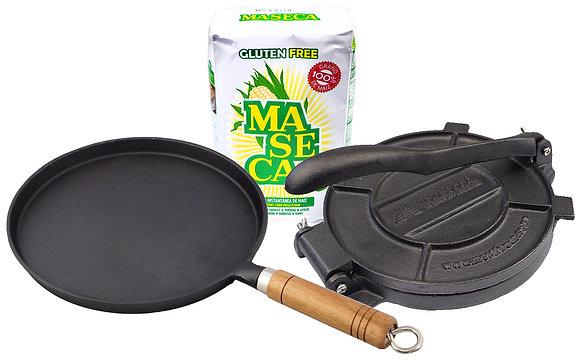Maseca Instant Corn Masa, Tortilla Press Combo & Cast Iron Comal