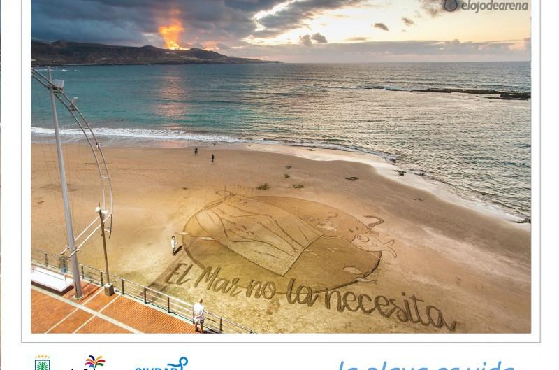 Las Palmas dibuja una gran postal de arena para denunciar el impacto de las mascarilla