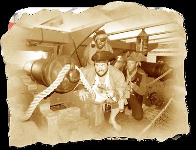 Pirates boarding through the gun ports