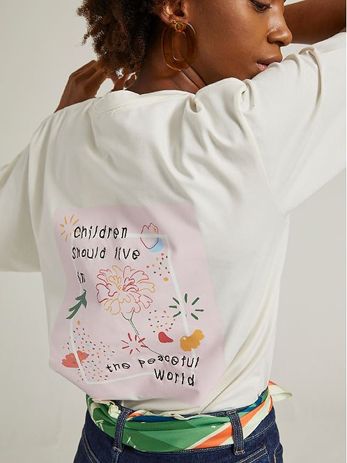 アートワークTシャツ マリーゴールド(ホワイト)