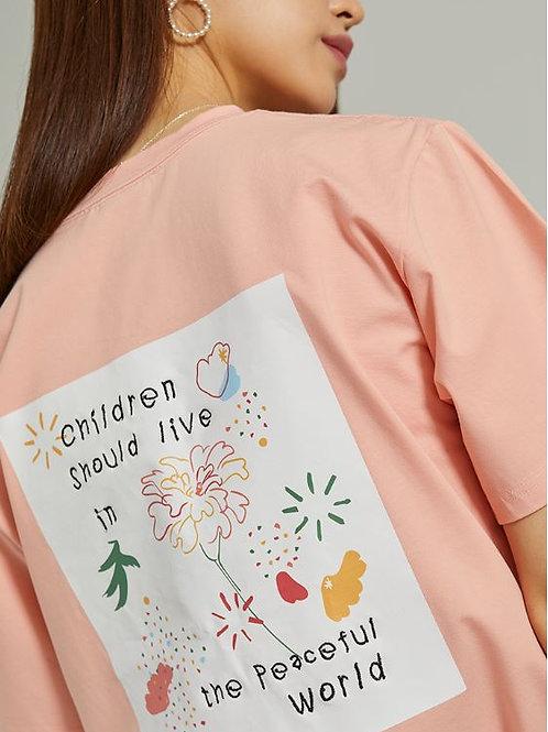 アートワークTシャツ マリーゴールド(ピンク)
