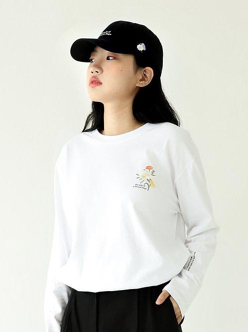 フラワーTシャツ_野菊(ホワイト)