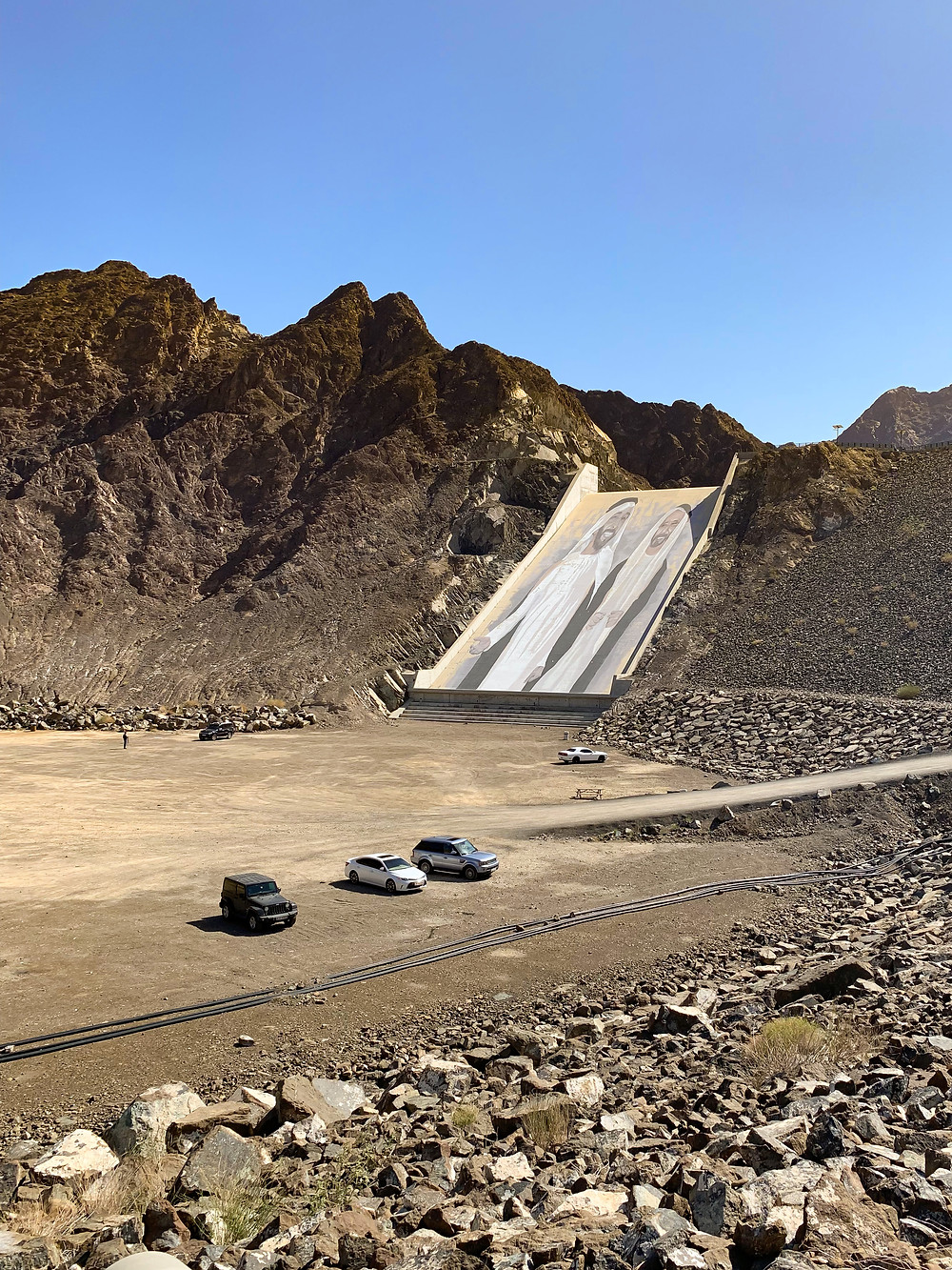 Mountains and the water dam at Hatta