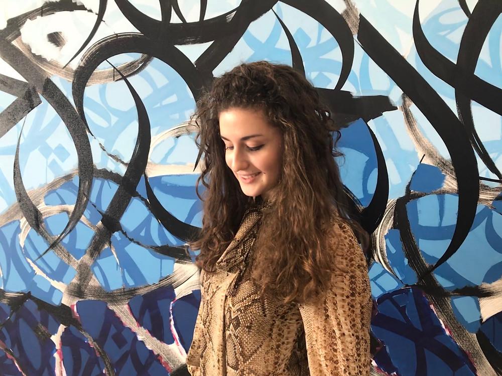 Giulia at El Seed's studio