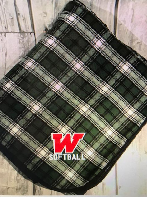 W Softball Plaid Blanket