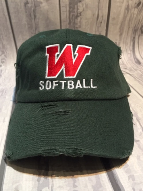 W Softball Distressed Cap