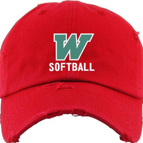 W Softball Distressed Cap