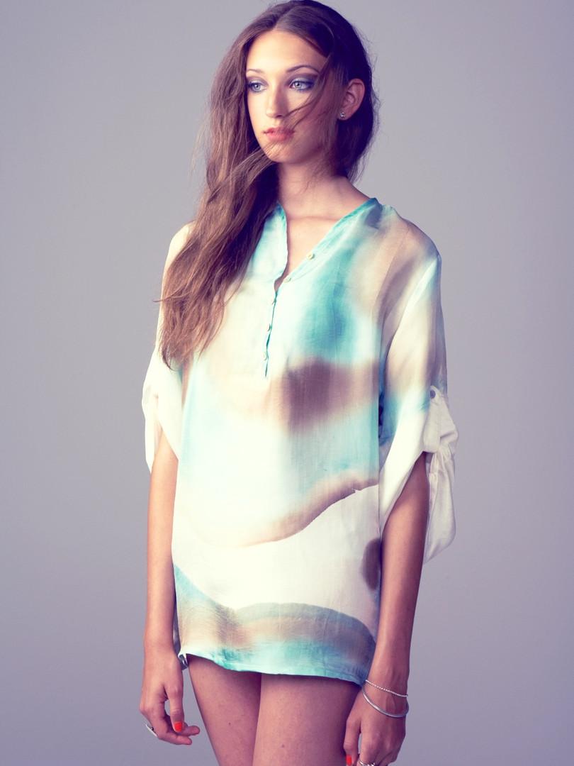 Ocean silk blouse