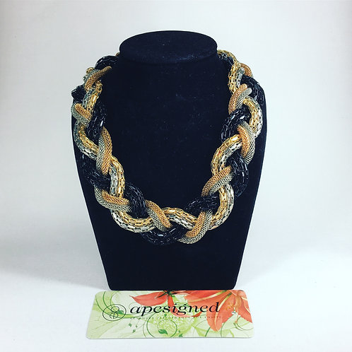 Necklace - gold/black/silver braided