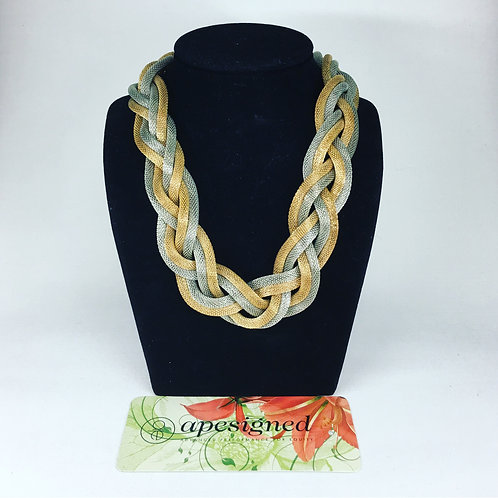 Necklace - silver / gold braided