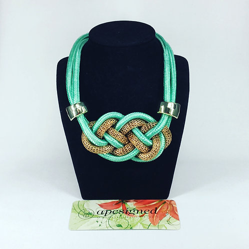 Necklace - green/gold rope