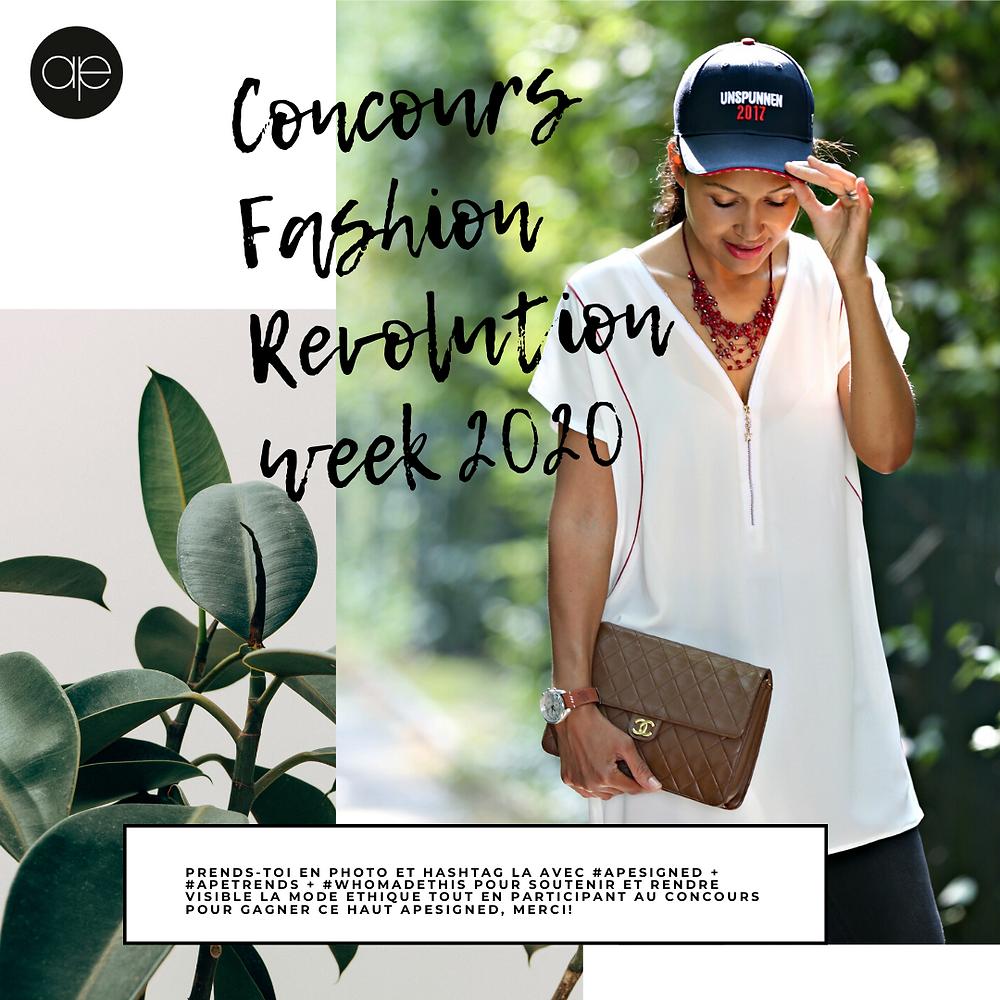 concours fashion revolution week 2020 by apesigned, gagne un haut apesigned et participe à rendre la mode éthique visible.