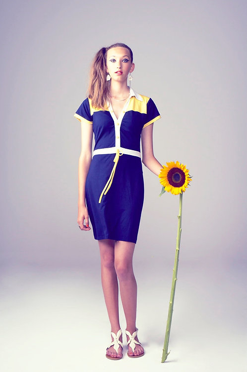 Venus Dress - marin blue/yellow