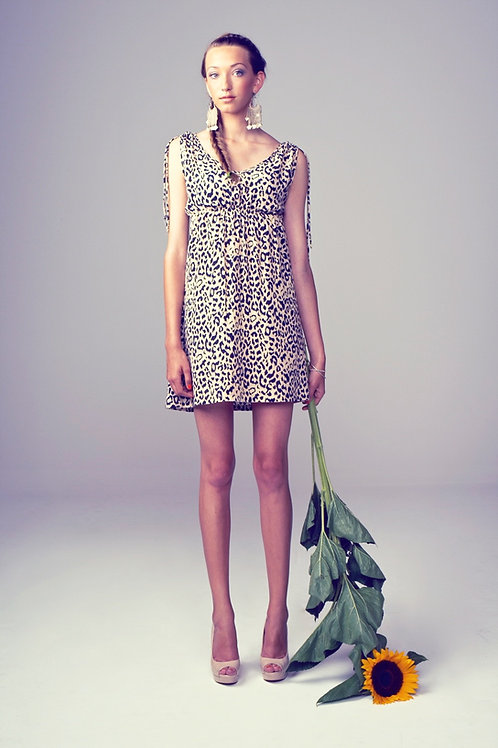 Leopard Dress - beige/black