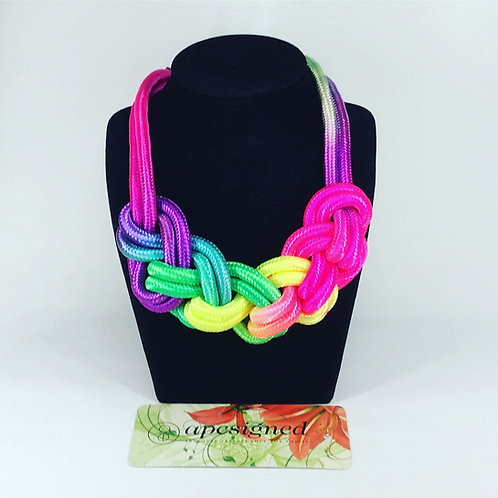 Necklace - rainbow rope braided