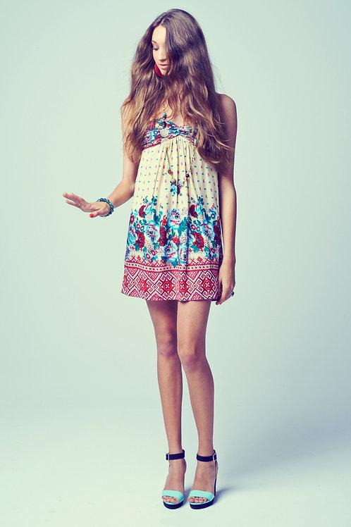 Amandine Dress - turquoise/red