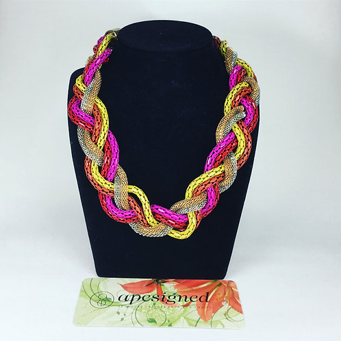 Necklace - pink/yellow braided