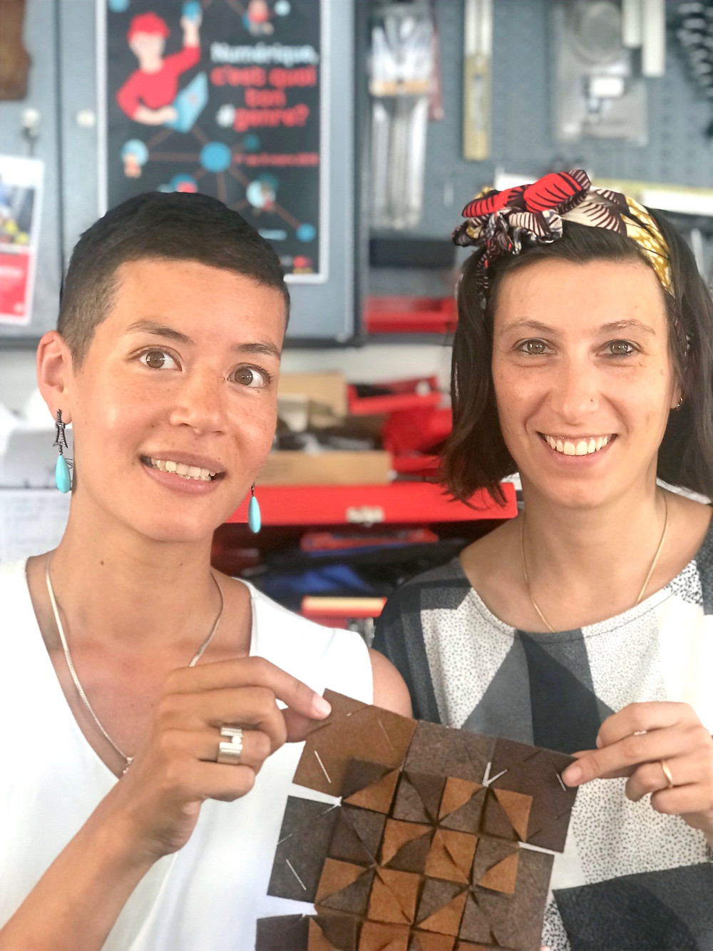 Jeanne from apesigned & Cristina from Fablab Onl'fati at the upcycling workshop, This Black Friday, buy nothing & make SMTHG!