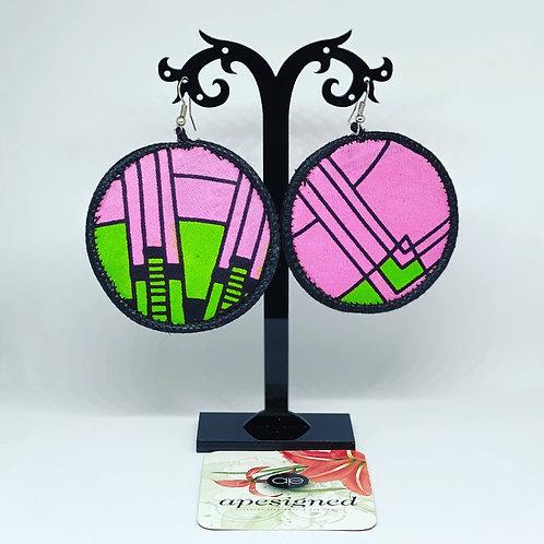 Gloria earrings - pink/green