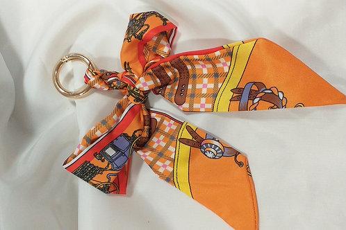 Porte clef tissus catogan tendance orange