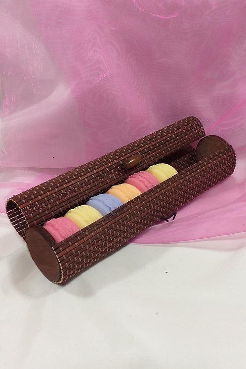 Coffret Tube de Rotin avec 6 Savons  Macarons Assortiments de Parfums