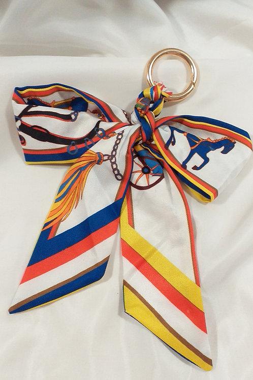 Porte clef tissus catogan tendance Blanc ,Bleu cheval
