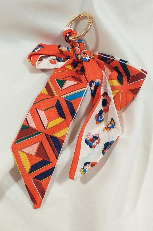 Porte clef tissus catogan tendance orange et Blanc