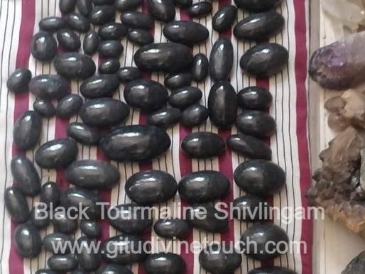 Shivalingam in Black Tourmaline Crystal