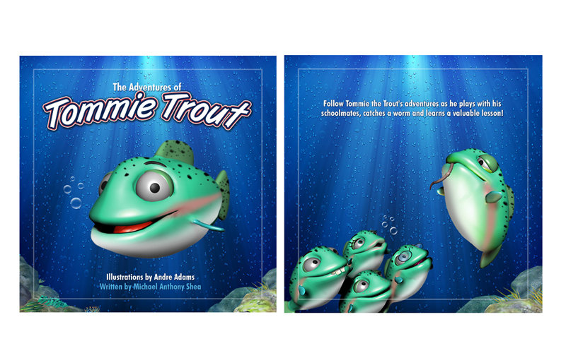Children's book cover illustration of cartoon 3D trout in river