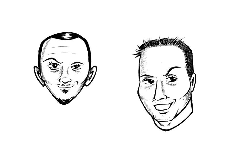 caricatures of male office co-workers