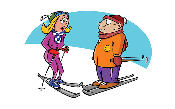 cartoon man and woman skiers on slope looking scared