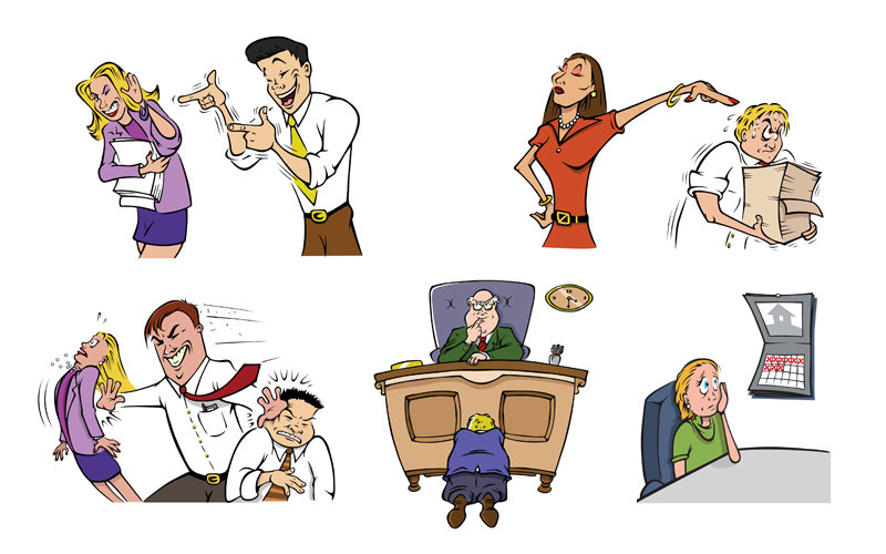 cartoon illustration of various office coworkers in funny situations