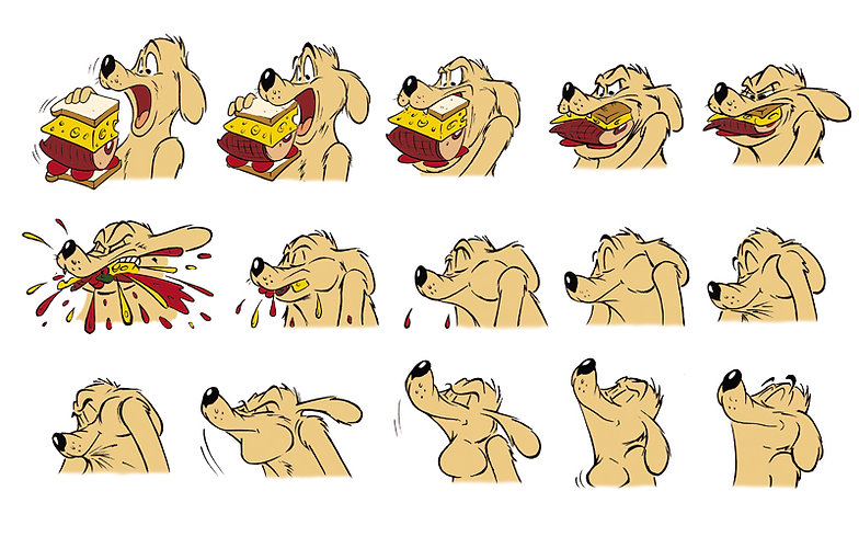 cartoon dog eating sandwich sprite-board for children's book I Make Pictures Move