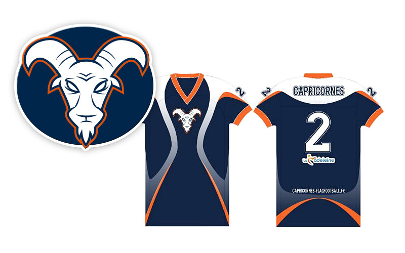 goat mascot logo & jersey design for flag football