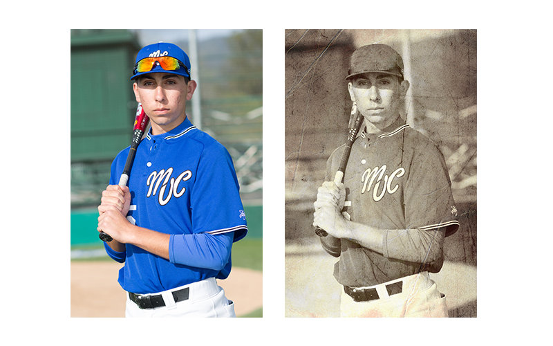 baseball player - vintage photo simulation