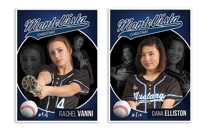 girls' softball sports cards for Monte Vista Christian School