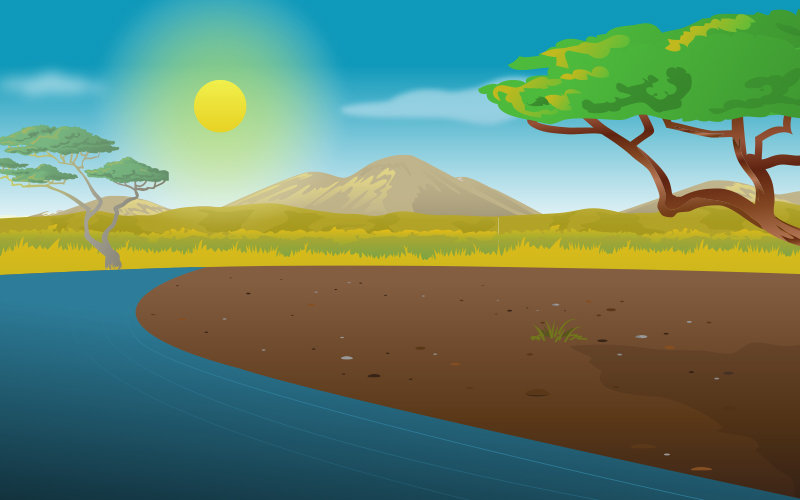 cartoon naturescape of African lake, trees and mountains
