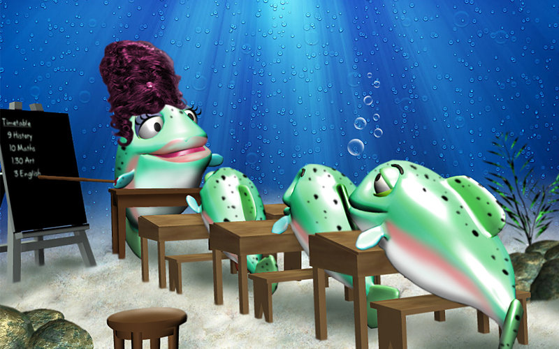 cartoon 3D rainbow trout in classroom