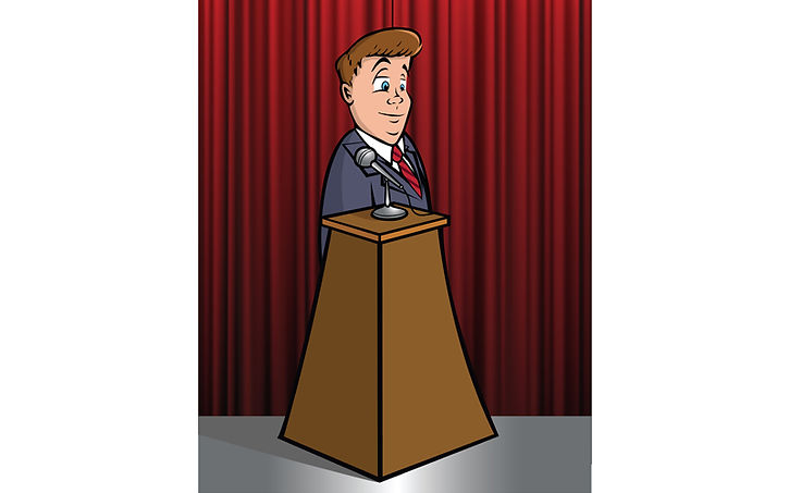 cartoon politician at podium with curtain in background