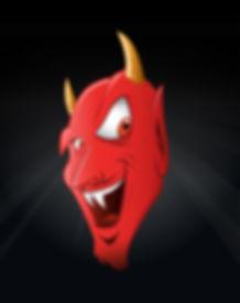 cartoon illustation of a devil grinning