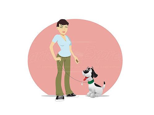dog owner treat tempting
