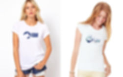 2 model women wearing t-shirts for start-up