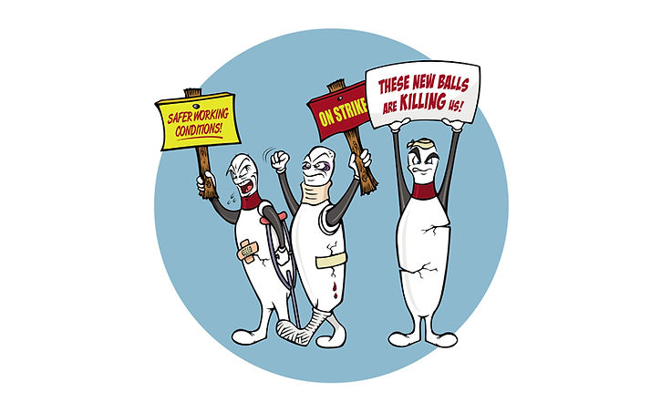 cartoon bowling pins on strike