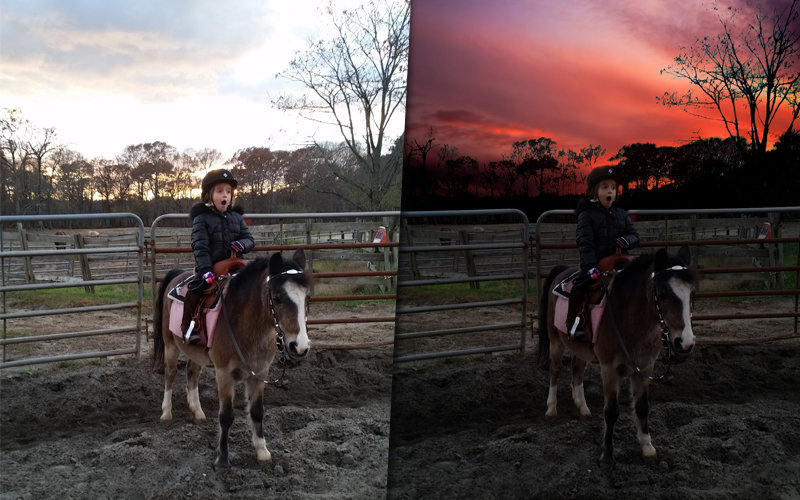little girl on pony - sunrise/sunset effect
