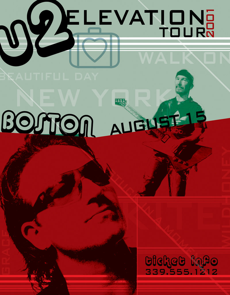 Bono and Edge in concept poster design for U2's Elevation tour