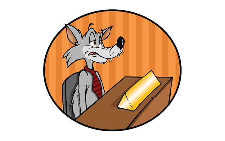 cartoon wolf in tie sittng at desk